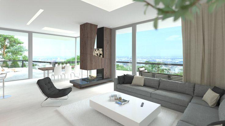 Riešenie interiéru rodinného domu je vzhľadom na umiestnenie a orientáciu pozemku nad Bratislavou vcelku jednoznačné. Presklenné steny, vysoké stropy a priestranná terasa tvoria maximálne možné prepojenie dennej časti domu s nádherným slnečným výhľadom na mesto.Do toho akoby v priestore voľne pohodený dizajnový prvok krbu z obkladových dosiek so štruktúrou drevodekoru dodáva priestoru šmrnc, eleganciu, vážnosť a špecifický charakter.Zároveň nerušene rozdeľuje sedaciu časť obývacej izby od…