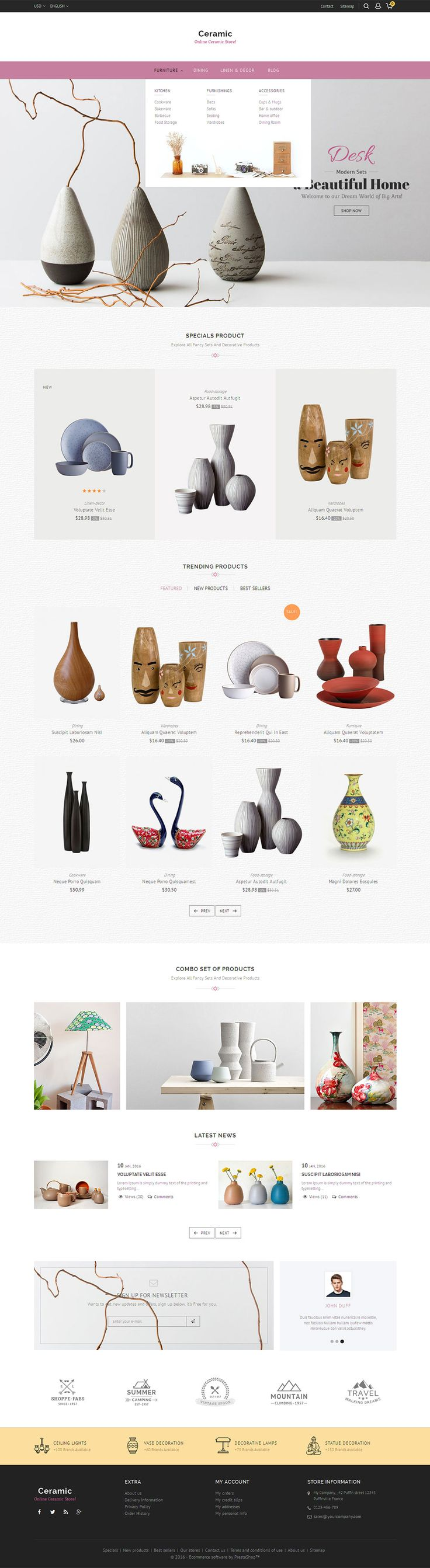 eCommerce Web Design - Prestashop Responsive Theme, #Ceramic #Modern #Art #Home…