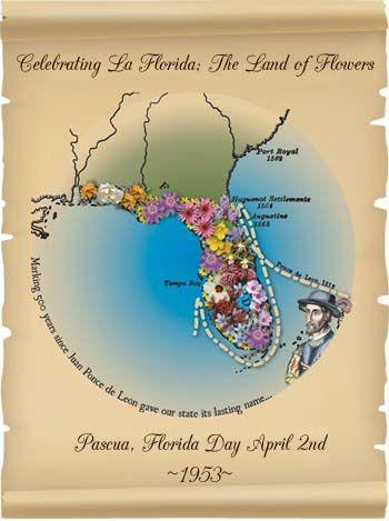 State Day - Pascua Florida Day April 2nd ~1953 ~ http://plant1000.blogspot.com/2015/06/ponce-de-leon-celebrating-la-florida.html