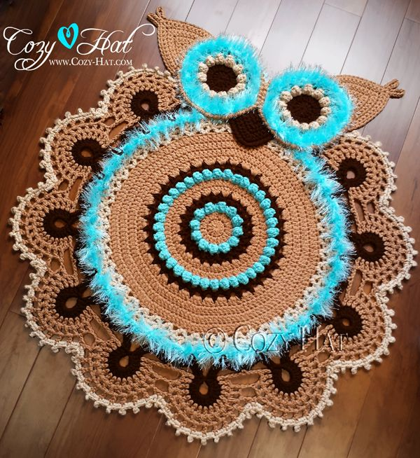 Beautiful Owl Rug. Hand Crocheted With Soft Acrylic Yarn. This Gorgeous Rug  Is A