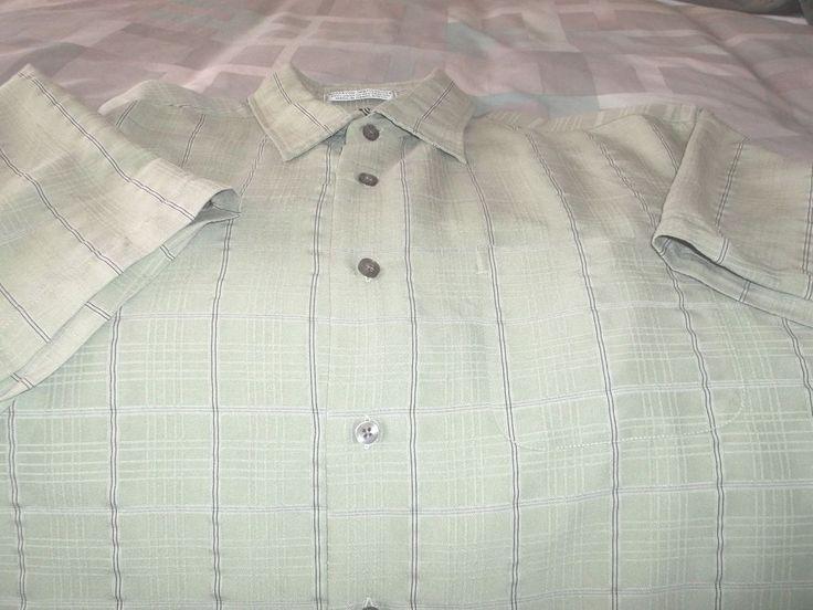 Men's Geoffrey Beene Shirt Muted Plaid Size L/G 16-16 1/2 Green Plaid Button #DavidTaylor #ButtonFront