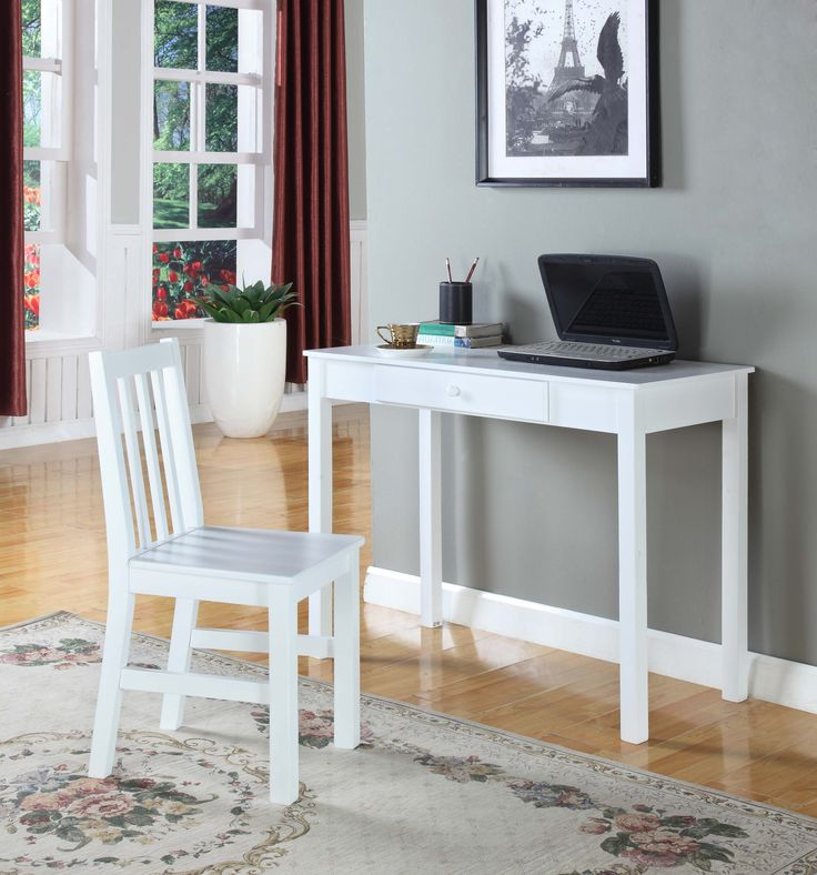 White Wood Home & Office Computer Workstation Desk With Storage Drawer