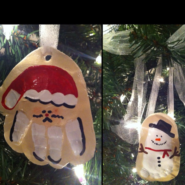 Wyatt's 1st Christmas DIY Handprint & Footprint Ornaments