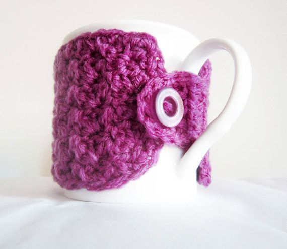 Radiant orchid crochet cup cozy, Crochet coffee cup cozy, Mauve crochet mug cozy, Coffee mug cozy, Tea cup cozy, Coffee lover gift,Cute cozy...