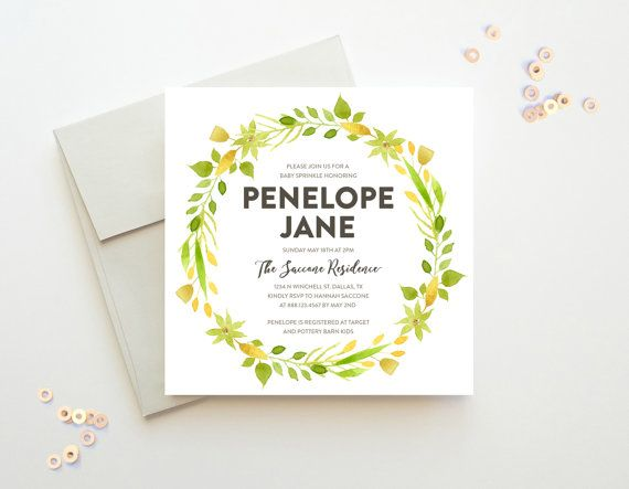 Printable Baby Sprinkle Invitation Unique Watercolor by Oakhouse