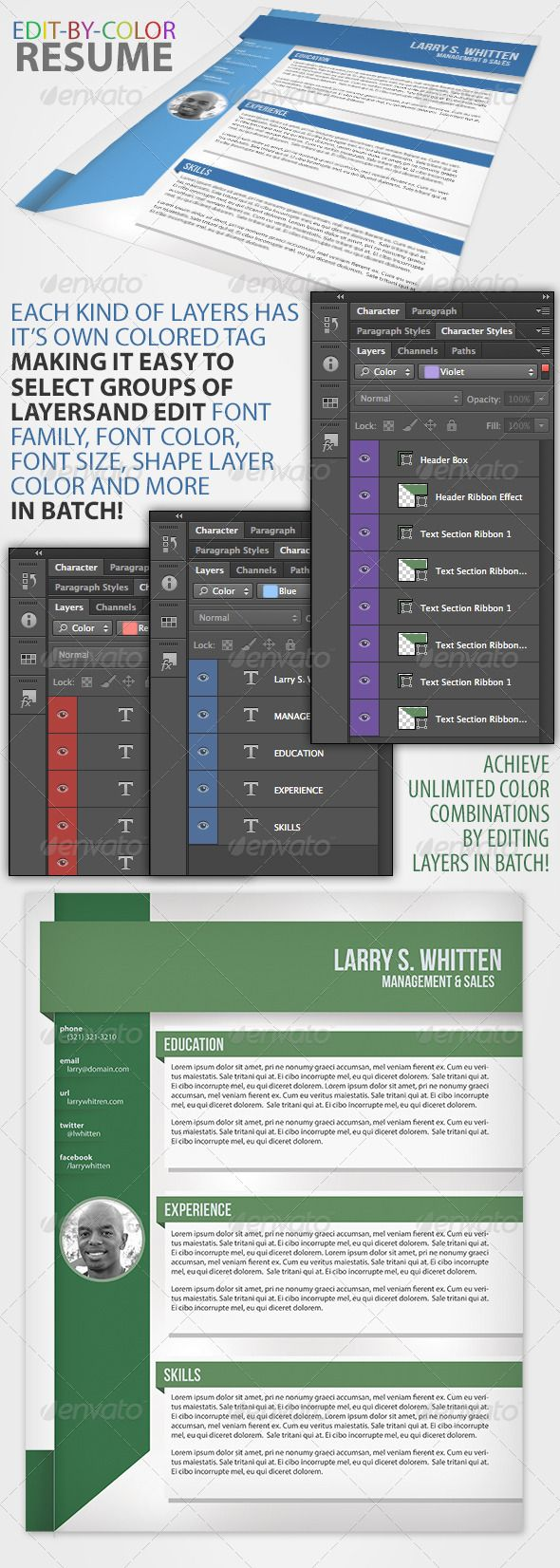 Edit By Color Resume GraphicRiver This is a fully