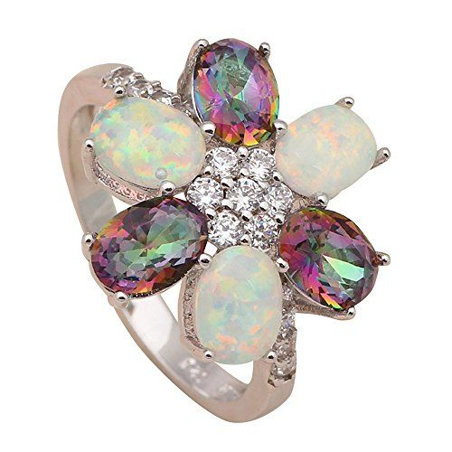T-Jewelry Fashion Multi-Color Rainbow Green Fire Opal Jew...