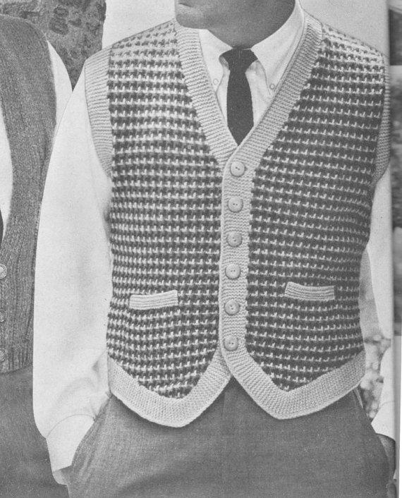 PDF Men's Vest Knitting Pattern, Tweed Knit Vest Pattern, Size 38 40 42, Men's Sweater Vest, Gift For Him, Vintage 1960's, PDF Download