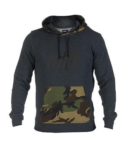 NIKE Camouflage pullover hoodie Long sleeves Stretch material for ultimate comfort Soft inner fleece Single kangaroo front pocket NIKE logo on front