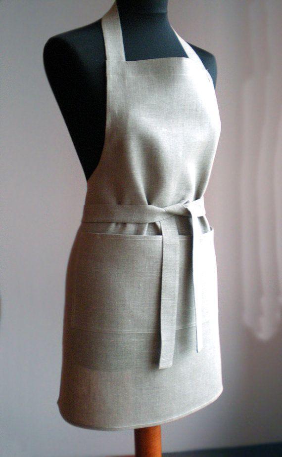Linen Apron Organic Full Apron Natural Linen by LinenLifeIdeas