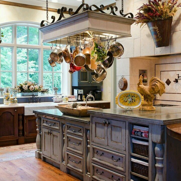 French Country Kitchen Island: Wooden Hanging Pot Rack W/ Lights?