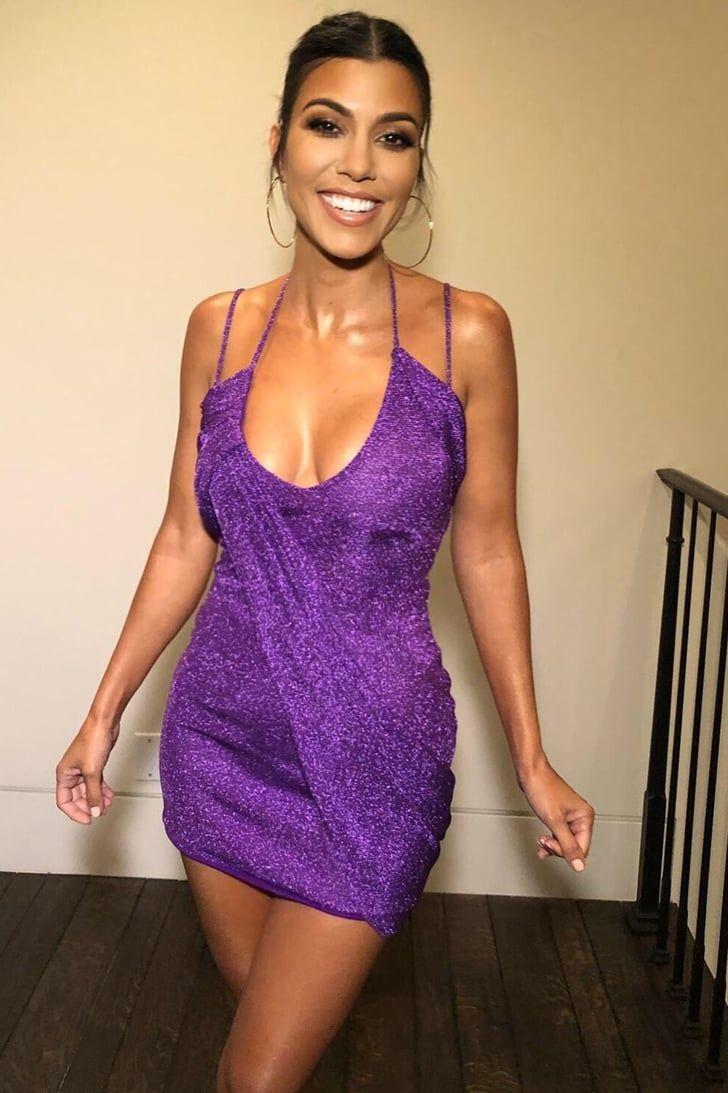 52381e6ec1a1 Kourtney Kardashian s Sparkly Purple Minidress Will Have You Believing in  Unicorns  kardashian  dresses