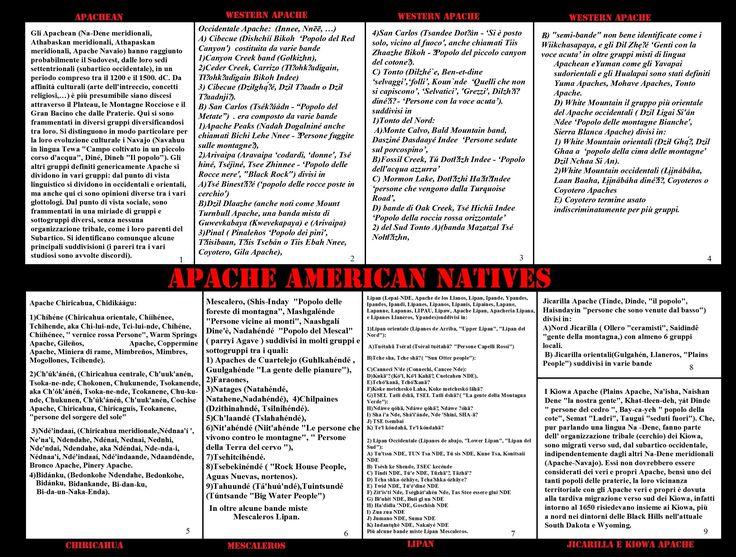 Gli Apachean sono divisi in gruppi principali che parlano lingue diverse e hanno sviluppato varianti culturali distinte: Navajo, Apache occidentali, Chiricahua, Mescalero, Jicarilla, Lipan. Ognuno suddiviso in sottogruppi formati da diversi gruppi locali, formati a sua volta da alcune famiglie allargate matrilineari e matrilocali L'organizzazione sociale (cerimonie, attività economiche, militari) non andava di solito, sotto la guida di un capo, oltre al livello del gruppo locale.