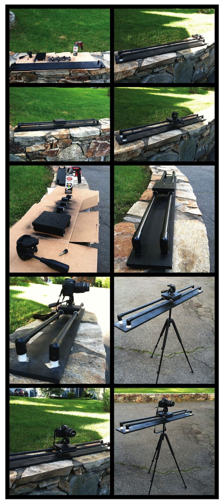 DIY for my Nikon D3100 DSLR Camera Slider... Glide Track  Took some pics along the way... I used an exisiting tripod that i have to use and bought some pvc pipe and fittings and bought a 4ft pine board at homedepot for platform and had some extra wood laying around for balancing plate and top slider piece where camera mounts.