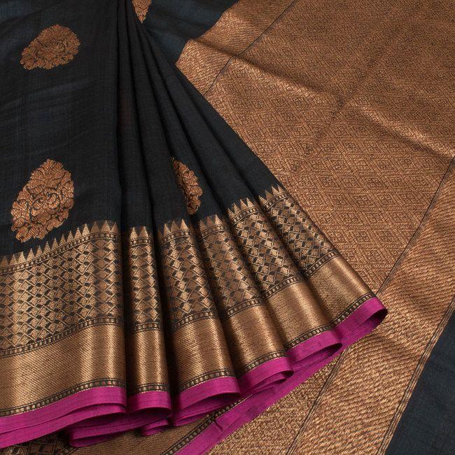 Shivangi Kasliwaal Black Handwoven Banarasi Tussar Silk Saree With Buti Motifs 10008762 - AVISHYA