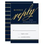 Unique Modern Navy & Gold Script Reply Cards