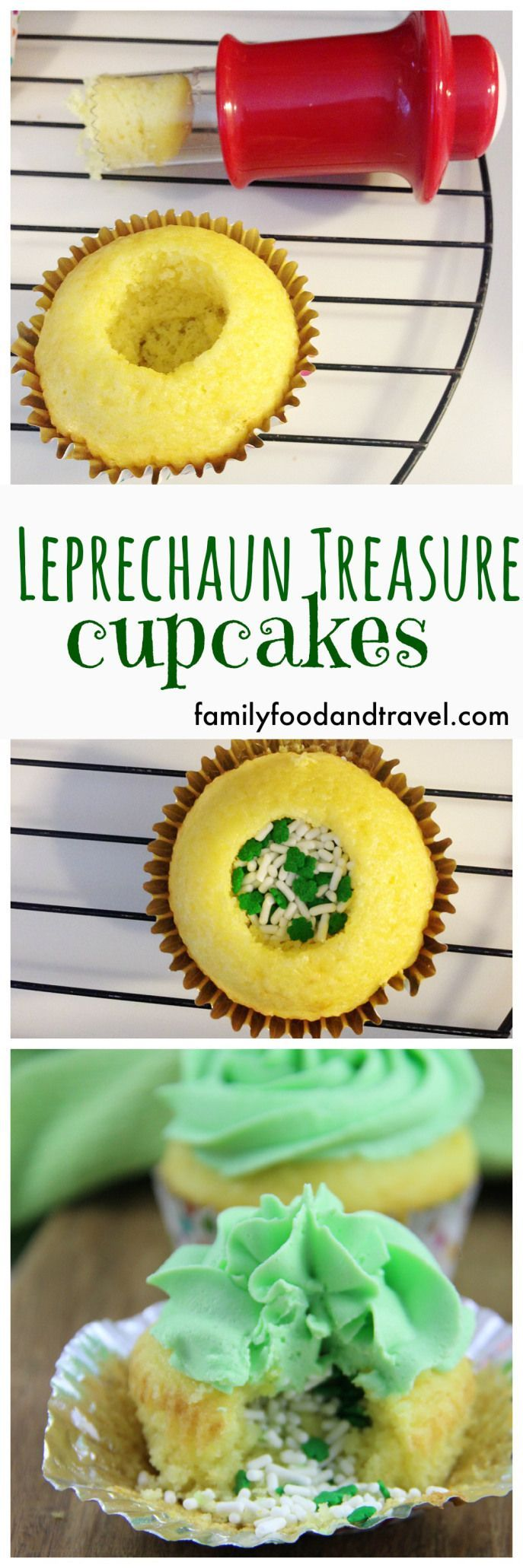 St. Patrick's Day Leprechaun Treasure Cupcakes - These cupcakes are filled with hidden treasure after they are baked for a special surprise when you bite into them!