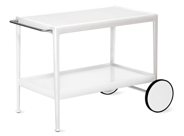 1966 Collection Porcelain Serving Cart  Designed by Richard Schultz for Knoll®  At a time when most outdoor furniture was stamped out of metal with backrests shaped like bouquets of flowers, the 1966 Collection brought the clean lines and balanced proportions of indoor modern furniture to outdoor living. In the years since its debut, the collection has been re-engineered to take advantage of modern materials like polyester powder-coat finishes.
