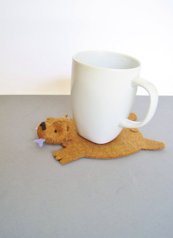 Bear Rug Coaster with Fish copper with periwinkle by dandyrions