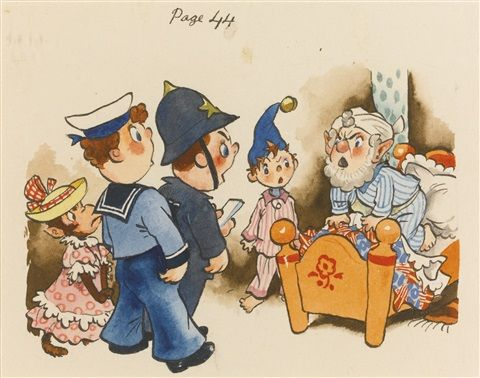 I chose this illustration out of this story because of the shadowy brown background shading.  I also like like costumes that are on these characters. Blyton. E (1952) Welldone noddy! Great Britain. Retrieved from;  https://www.google.co.nz/search?q=well+done+noddy&source=lnms&tbm=isch&sa=X&ved=0ahUKEwjg--THoKbUAhWIerwKHbLQCqYQ_AUIBigB&biw=1366&bih=662#imgrc=wTcH11i2brzx6M: