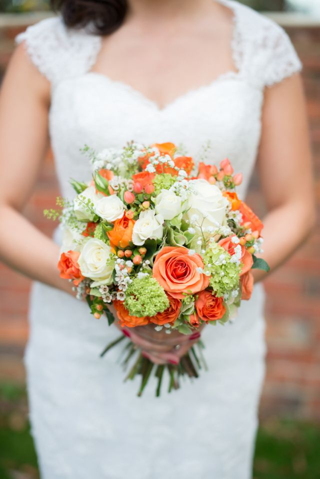 Bouquet Flowers Green Rose Bridal Bride Pretty Charming Orange Navy Rustic Wedding http://www.kayleighpope.co.uk/
