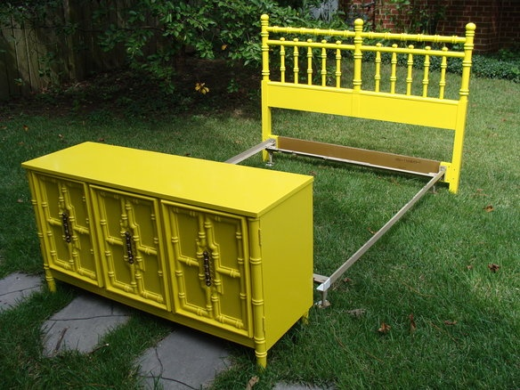 SOLD Vintage Faux Bamboo Headboard YELLOW