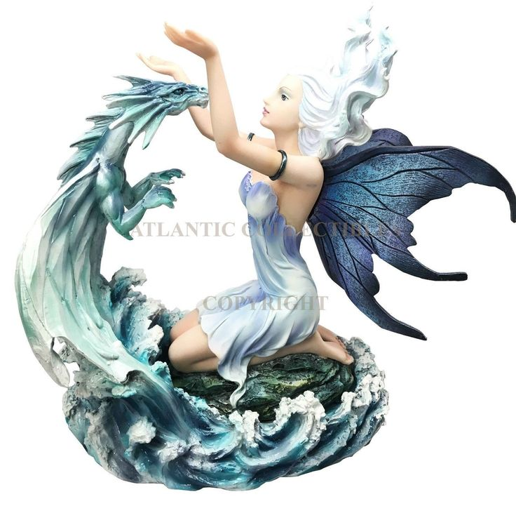 Large Elemental Fairy with Water Dragon Companion Figurine Statue Collectible | eBay