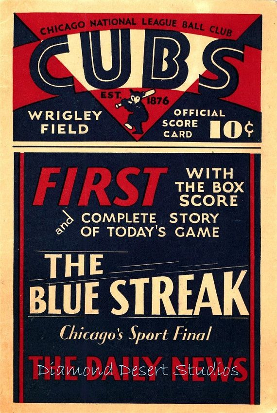 Chicago Cubs 1930 Scorecard