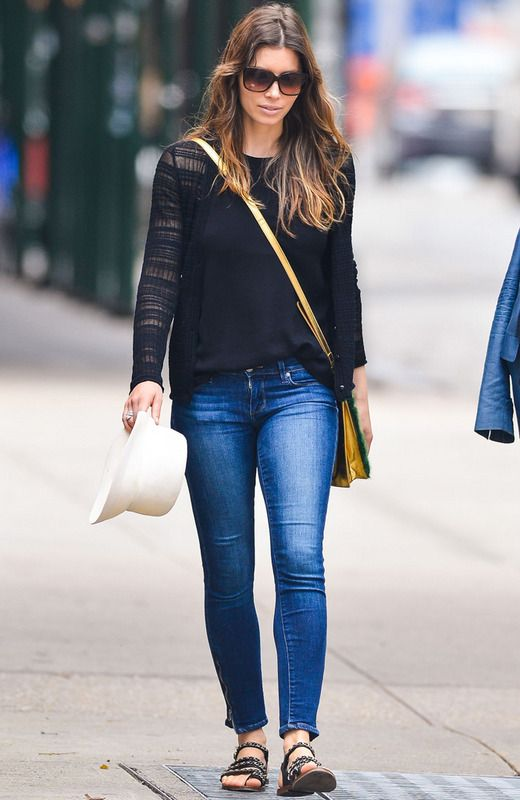 Jessica Biel does street style.