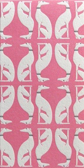 Vintage pink dog wallpaper