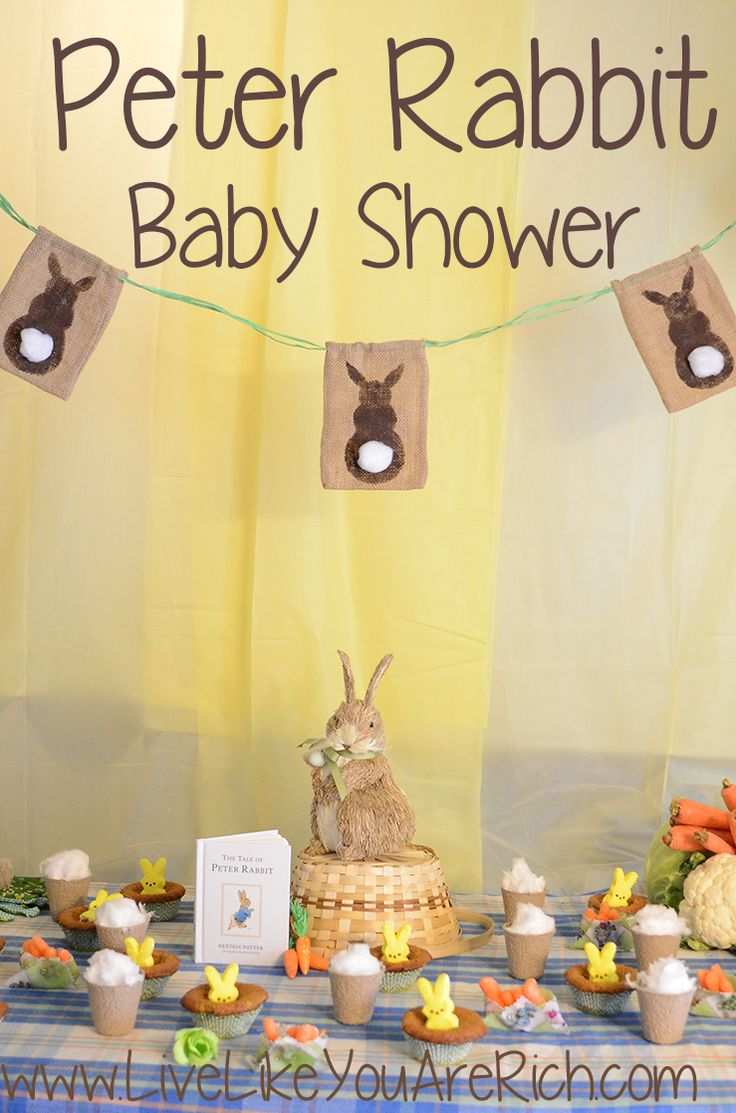Peter rabbit baby shower easter party love the and for Baby shower deko boy