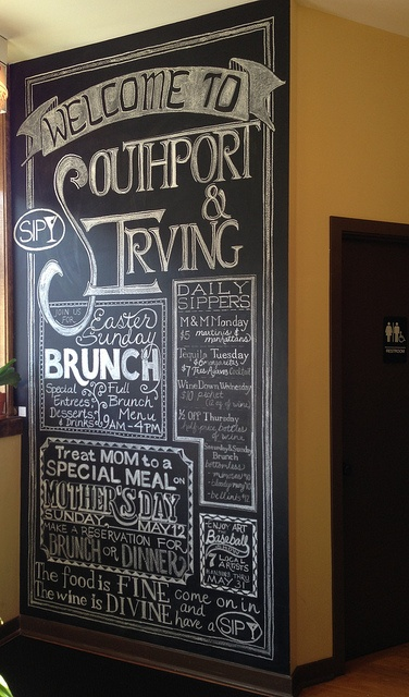 Newsy hand lettered restaurant chalkboard by Nancy Pochis Bank Art Studio
