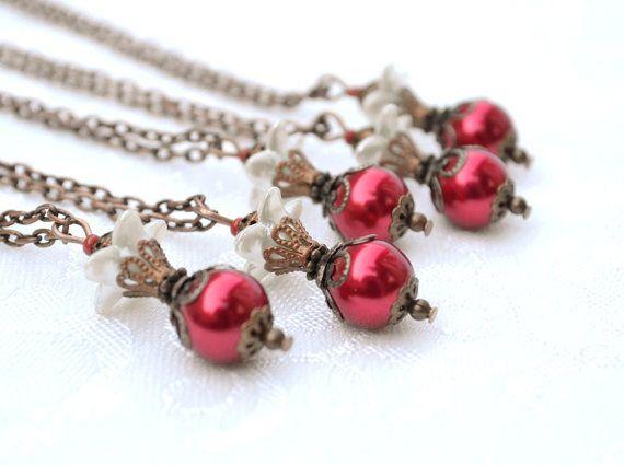 Red bridesmaid necklace pearl drop pendant bib by artemisartdesign, $10.00