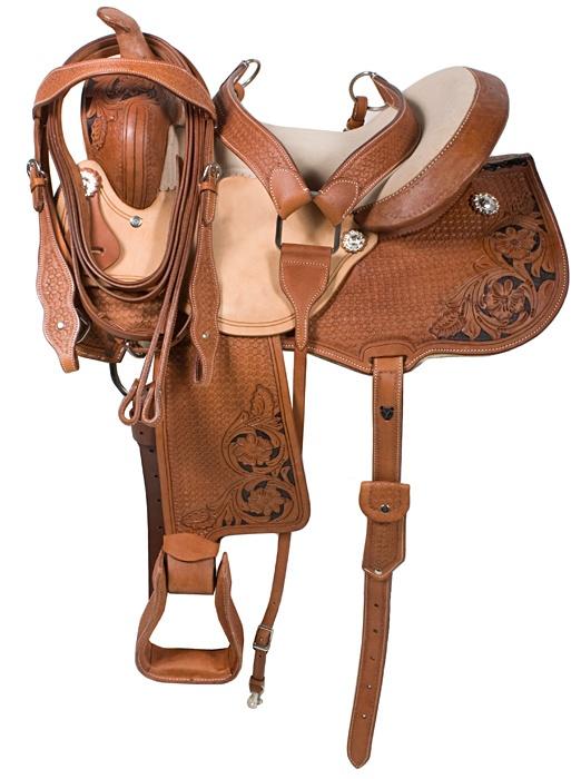 Premium Barrel Racing Western Horse Saddle Tack 14 16