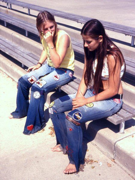 70s, jeans with patches