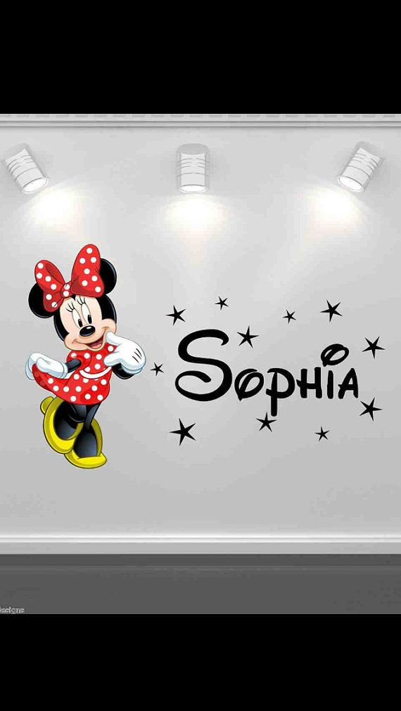 Minnie Mouse Wall Appliques   Items similar to Full Colour Disney Minnie Mouse Personalised Wall Art ...