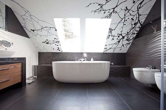 Aranżacja łazienki wystrój nowoczesny w kolorach biel, szary - projekt wnętrza #9058570, Homplex