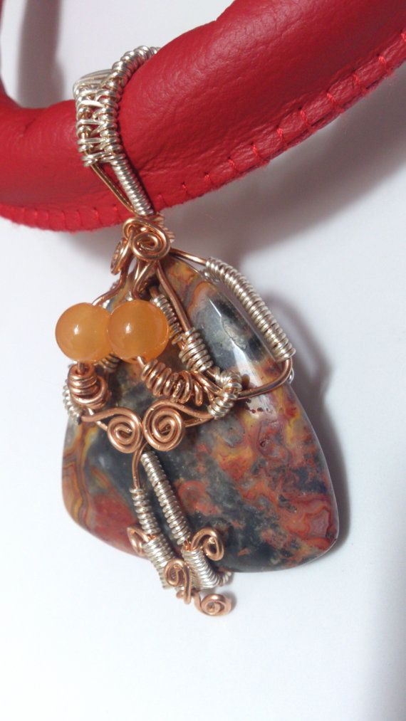 Natural Agate & Topaz Wire Weave Leather Necklace by PoeticSolace, £72.00