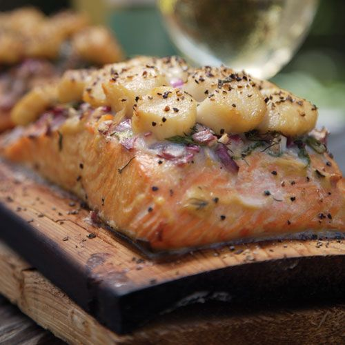 Cedar Planked Salmon - With Scallop Crust
