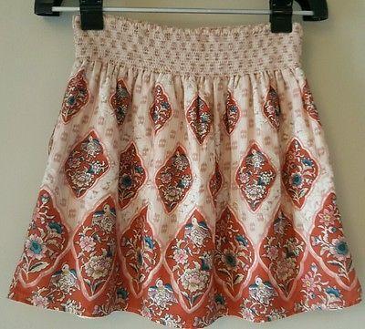 Ecote Anthropoligie skirt floral bird multicolor pink stretchy size Medium M