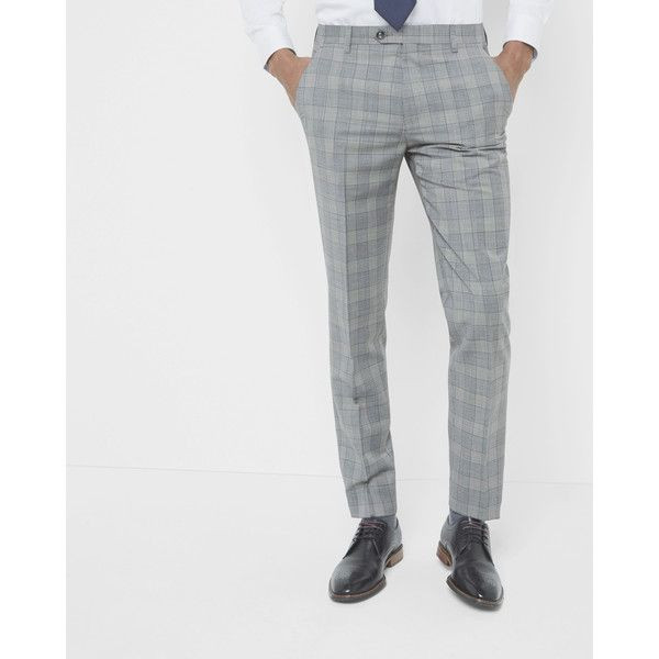 Ted Baker Debonair checked wool trousers ($180) ❤ liked on Polyvore featuring men's fashion, men's clothing, men's pants, men's dress pants, grey, ted baker mens pants, mens wool dress pants, mens gray pants, mens grey wool pants and mens 5 pocket pants