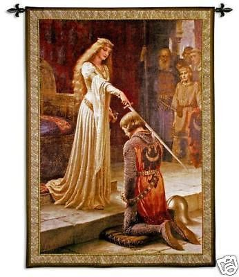 """""""The Accolade Tapestry Wall Hanging"""" This tapestry is based on a classic painting by Edmund Blair Leighton entitled 'The Accolade'. It features a knight dressed in a coat of chain mail armor. The brav"""