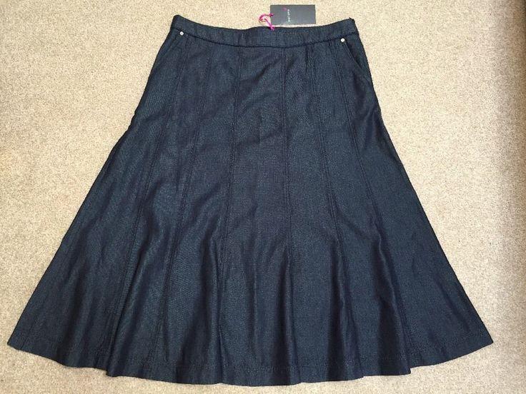 M&S PER UNA Ladies DENIM Skirt UK14 EU42 Length 33  or 84cm BNWT RRP£45 Indigo
