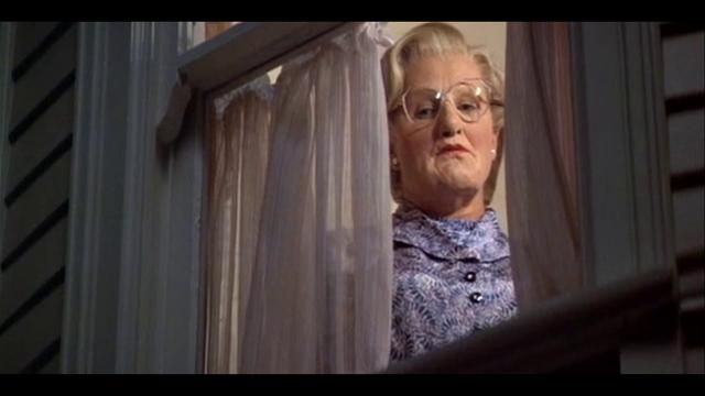 Mrs. Doubtfire as a horror movie. This is amazing, couldn't stop laughing!