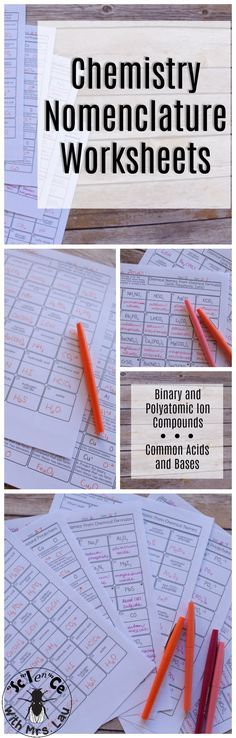 Use this set of pages to help students practice naming compounds and writing chemical formulas! There are also pages to help students practice figuring out the subscripts for compounds with two ions.