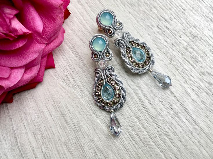 Vintage style earrings with gemstones. Soutache earrings with topaz and Swarovski crystals. Silver jewelry. Bridal earrings. Blue earrings