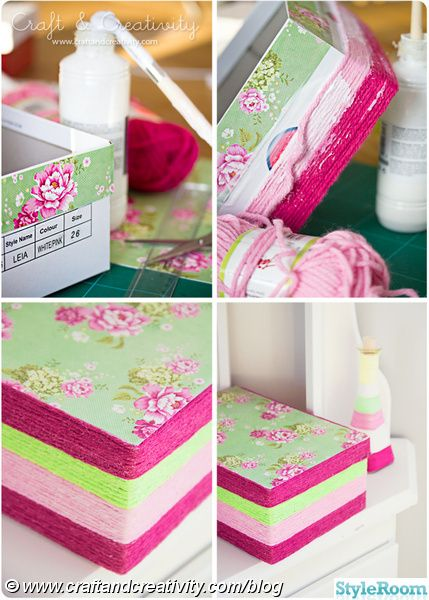 How to decorate a shoe box with yarn. this would be a fun way to store stuff with open shelves.