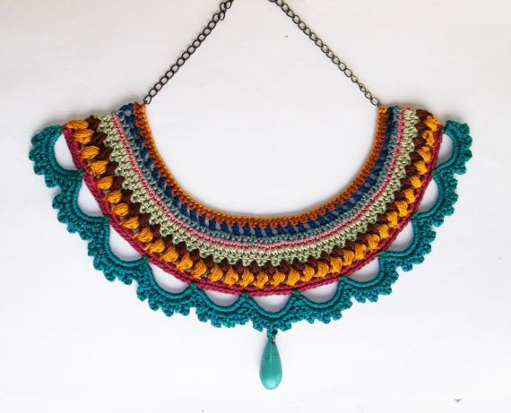 statement necklace/ crochet necklace/ blue necklace/ fiber necklace by laviniasboutique