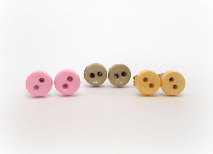 Earrings for Kids Earrings for Girls Button Earrings Pink Gray Yellow Cute Earrings Tiny Earrings Tween Jewelry Earrings for Sensitive Ears by foreverandrea on Etsy
