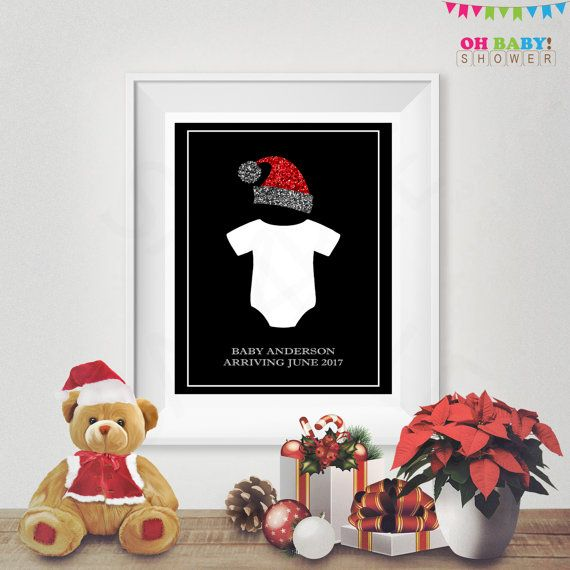 Christmas Pregnancy Announcement Sign Onesie Baby by OhBabyShower